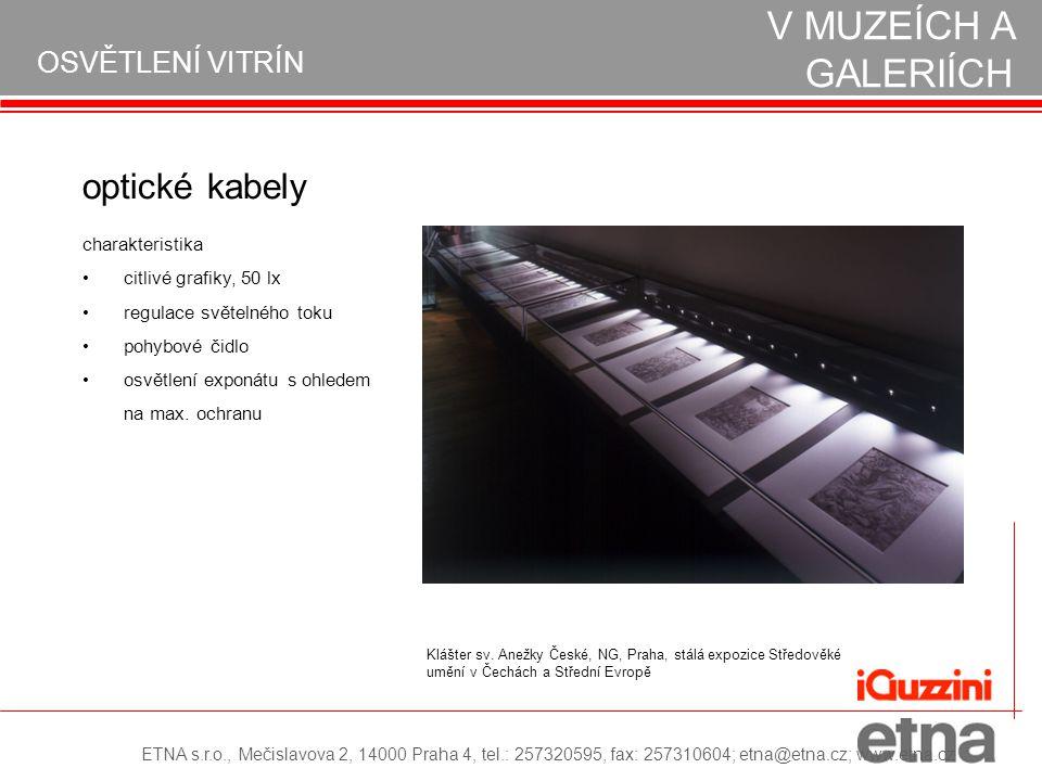 OSVĚTLENÍ VITRÍN REALIZACE OSVĚTLENÍ V MUZEÍCH A GALERIÍCH optické kabely citlivé grafiky, 50 lx regulace světelného toku pohybové čidlo osvětlení exp