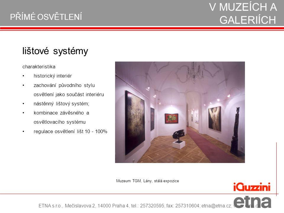 PŘÍMÉ OSVĚTLENÍ REALIZACE OSVĚTLENÍ V MUZEÍCH A GALERIÍCH lištové systémy historický interiér zachování původního stylu osvětlení jako součást interié
