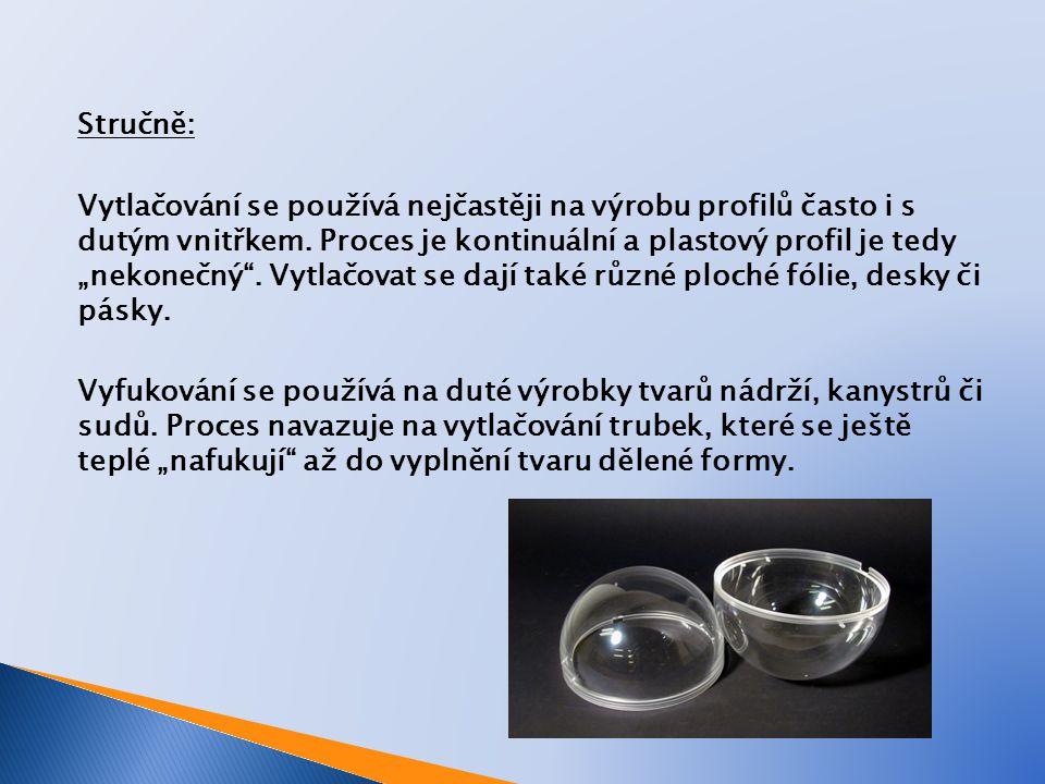 Vytlačování / vyfukování - duté výrobky: