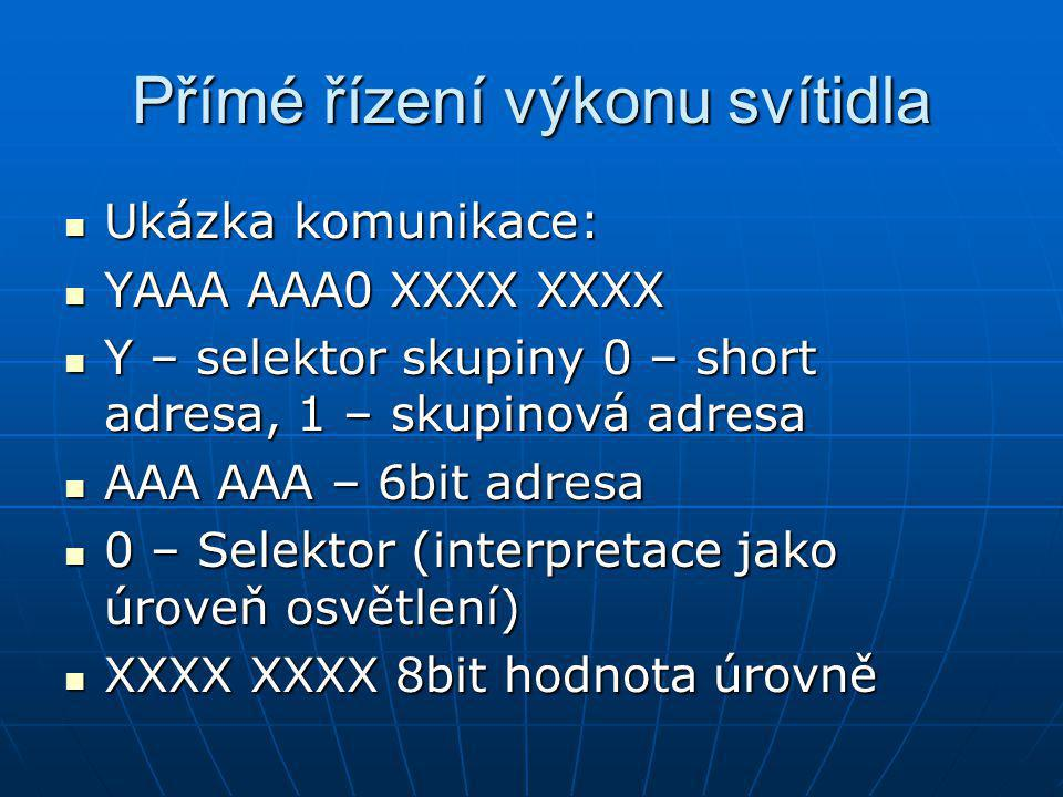 Přímé řízení výkonu svítidla Ukázka komunikace: Ukázka komunikace: YAAA AAA0 XXXX XXXX YAAA AAA0 XXXX XXXX Y – selektor skupiny 0 – short adresa, 1 – skupinová adresa Y – selektor skupiny 0 – short adresa, 1 – skupinová adresa AAA AAA – 6bit adresa AAA AAA – 6bit adresa 0 – Selektor (interpretace jako úroveň osvětlení) 0 – Selektor (interpretace jako úroveň osvětlení) XXXX XXXX 8bit hodnota úrovně XXXX XXXX 8bit hodnota úrovně