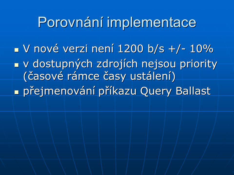 Porovnání implementace V nové verzi není 1200 b/s +/- 10% V nové verzi není 1200 b/s +/- 10% v dostupných zdrojích nejsou priority (časové rámce časy ustálení) v dostupných zdrojích nejsou priority (časové rámce časy ustálení) přejmenování příkazu Query Ballast přejmenování příkazu Query Ballast