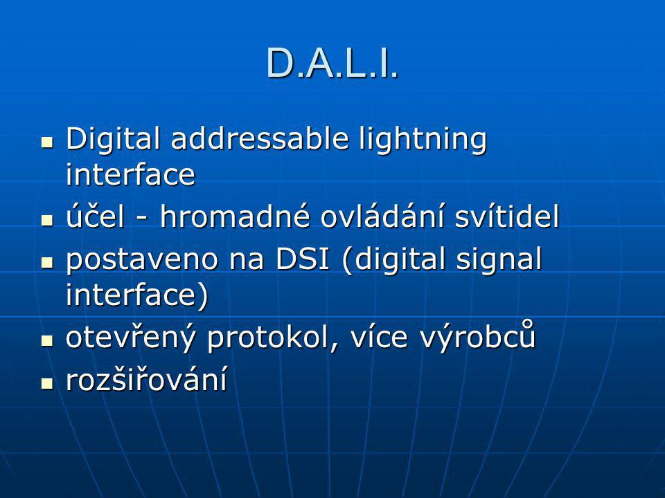 D.A.L.I. Digital addressable lightning interface Digital addressable lightning interface účel - hromadné ovládání svítidel účel - hromadné ovládání sv