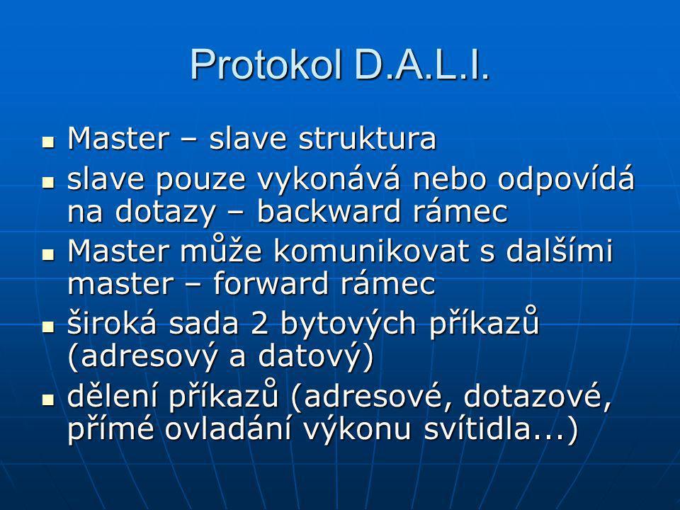 Protokol D.A.L.I. Master – slave struktura Master – slave struktura slave pouze vykonává nebo odpovídá na dotazy – backward rámec slave pouze vykonává