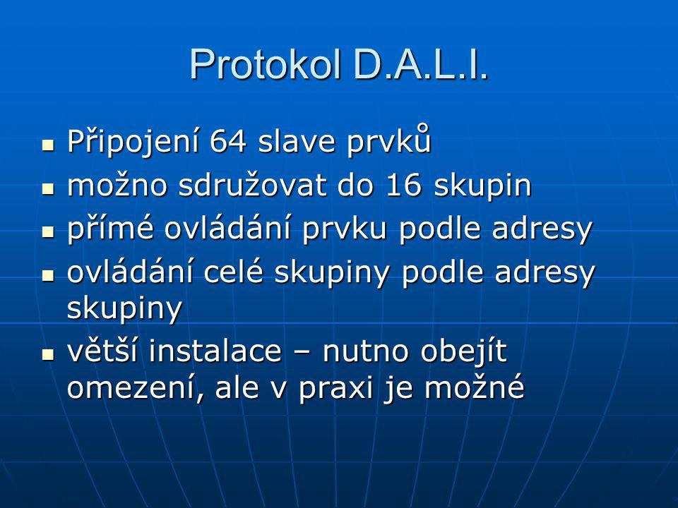 Protokol D.A.L.I. Připojení 64 slave prvků Připojení 64 slave prvků možno sdružovat do 16 skupin možno sdružovat do 16 skupin přímé ovládání prvku pod