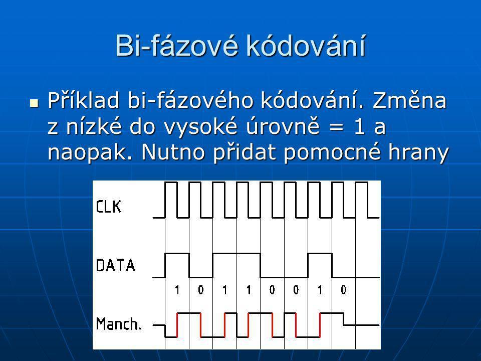 Bi-fázové kódování Příklad bi-fázového kódování. Změna z nízké do vysoké úrovně = 1 a naopak. Nutno přidat pomocné hrany Příklad bi-fázového kódování.