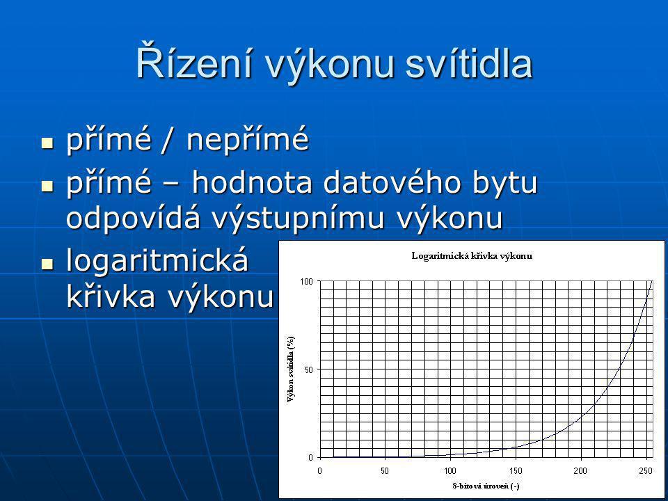 Řízení výkonu svítidla přímé / nepřímé přímé / nepřímé přímé – hodnota datového bytu odpovídá výstupnímu výkonu přímé – hodnota datového bytu odpovídá výstupnímu výkonu logaritmická křivka výkonu logaritmická křivka výkonu