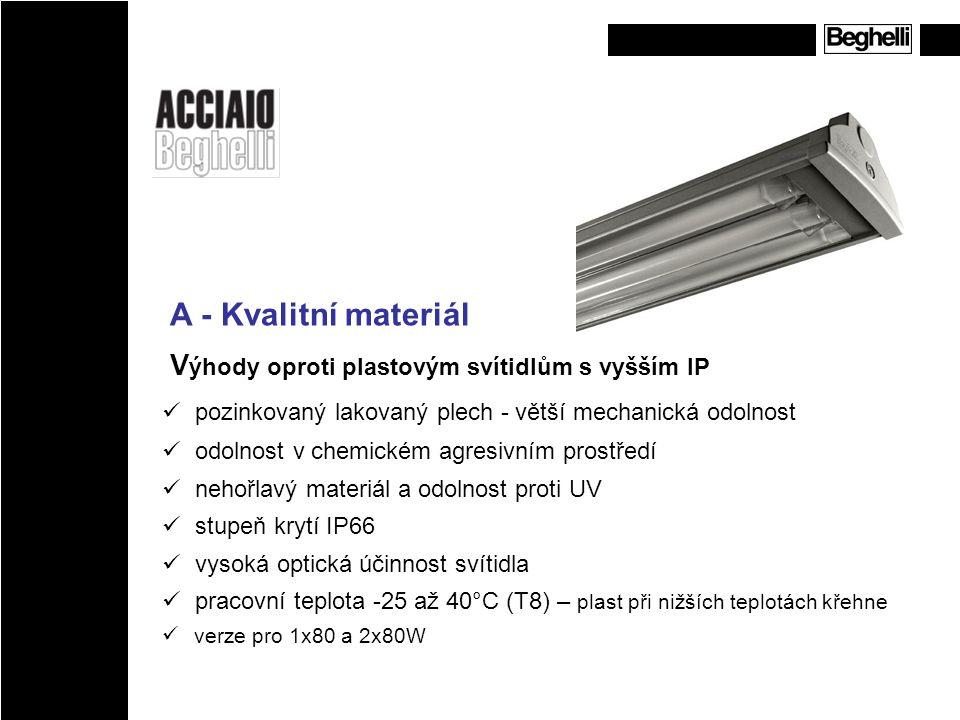 A - Kvalitní materiál V ýhody oproti plastovým svítidlům s vyšším IP pozinkovaný lakovaný plech - větší mechanická odolnost odolnost v chemickém agres