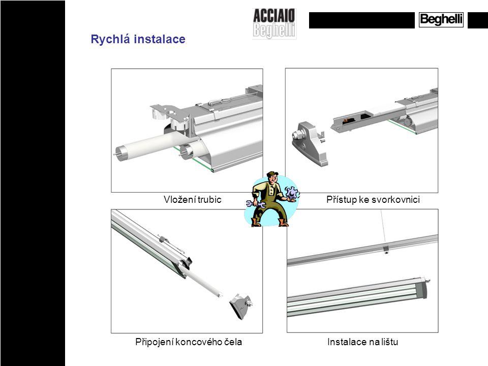 Odnímatelná hliníková čela, umožňující vstup ke světelným zdrojům a komponentům
