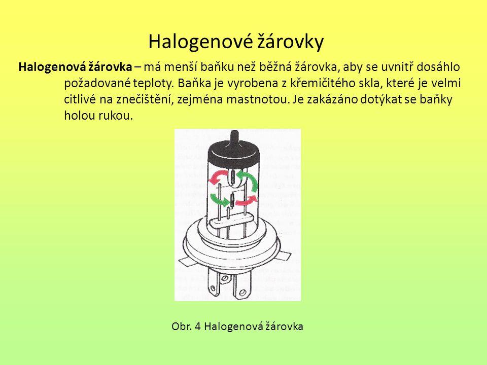 Halogenové žárovky Halogenová žárovka – má menší baňku než běžná žárovka, aby se uvnitř dosáhlo požadované teploty. Baňka je vyrobena z křemičitého sk