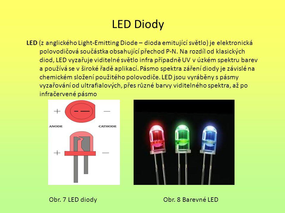 LED Diody Obr. 7 LED diody LED (z anglického Light-Emitting Diode – dioda emitující světlo) je elektronická polovodičová součástka obsahující přechod