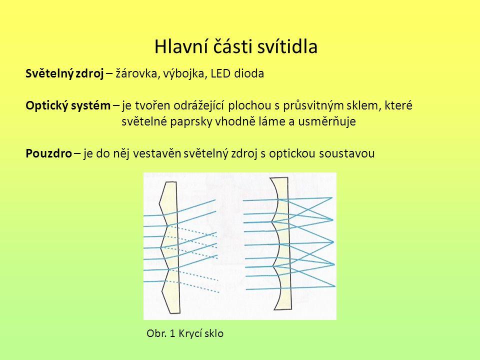 Hlavní části svítidla Podle vzájemného uspořádání prvků se rozeznávají svítidla Samostatná – samostatný zdroj světla, výstupní plocha i pouzdro Sdružená – společný zdroj světla i pouzdro, samostatné výstupní plochy Sloučená – zdroj může být společný nebo samostatný pracující za rozdílných světelných podmínek, společné pouzdro i výstupní plocha Skupinová – společné je pouze pouzdro