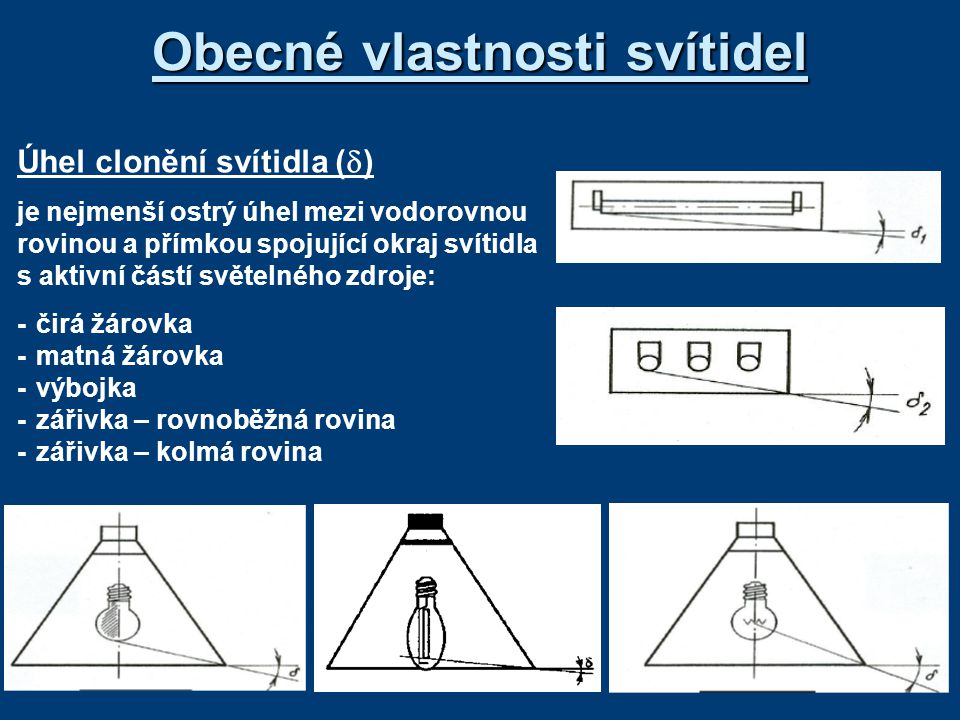 Elektrické vlastnosti Rozdělení svítidel podle napětí: *na malé napětí do 50 V (zpravidla 48 V) *na nízké napětí do 250 V Podmínky pro bezporuchový a bezpečný provoz svítidla : *krytí živých částí (výběr) -minimální krytí IP 20 (chráněné před dotykem prstem) -těsně zavřené IP 54 (částečně chráněné proti prachu a vodou) -ponorné IP 68 (plná ochrana před prachem a vodou) *ochrana před nebezpečných dotykem -svítidla třídy ochrany I (připojení ochranného vodiče) -svítidla třídy ochrany II (dvojitá nebo zesílená izolace) -svítidla třídy ochrany III (malé bezpečné napětí) *požární bezpečnost -různé materiály se stanovenou maximální provozní teplotou *nevýbušné provedení