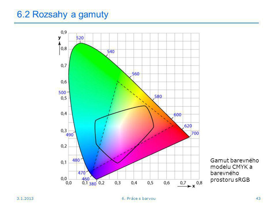 3.1.2013 6.2 Rozsahy a gamuty 436. Práce s barvou Gamut barevného modelu CMYK a barevného prostoru sRGB