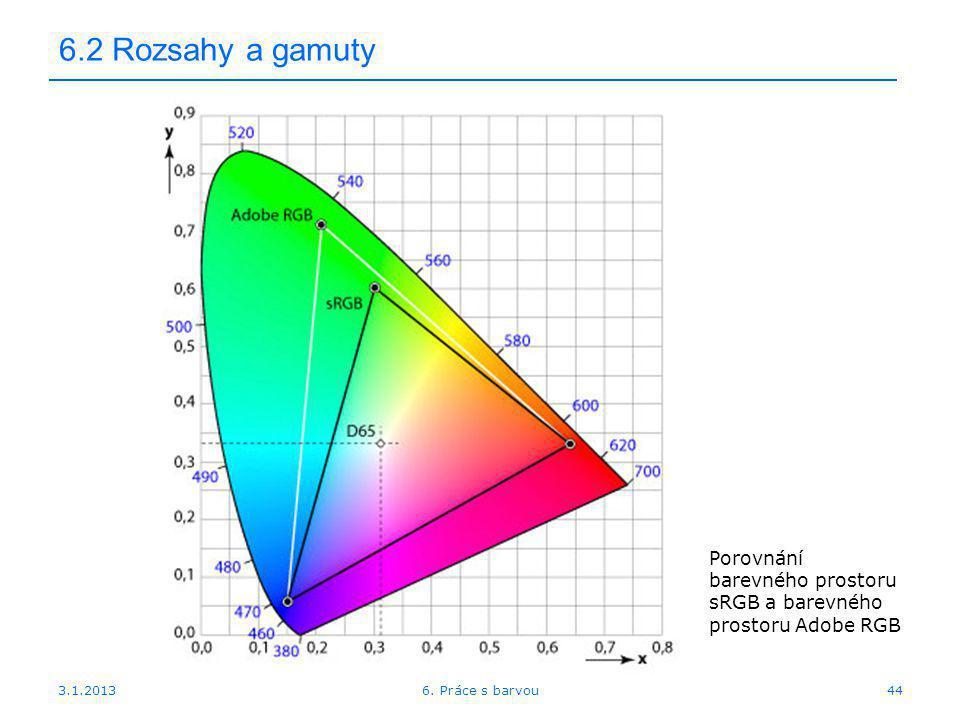 3.1.2013 6.2 Rozsahy a gamuty 446. Práce s barvou Porovnání barevného prostoru sRGB a barevného prostoru Adobe RGB