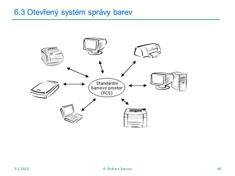 3.1.2013 6.3 Otevřený systém správy barev 486. Práce s barvou