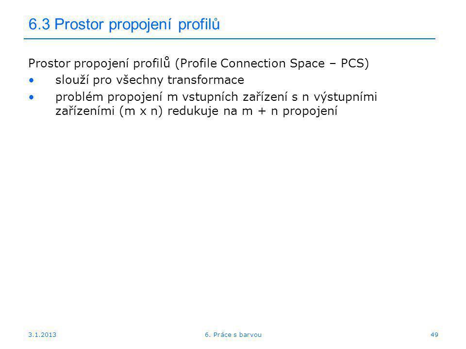3.1.2013 6.3 Prostor propojení profilů Prostor propojení profilů (Profile Connection Space – PCS) slouží pro všechny transformace problém propojení m