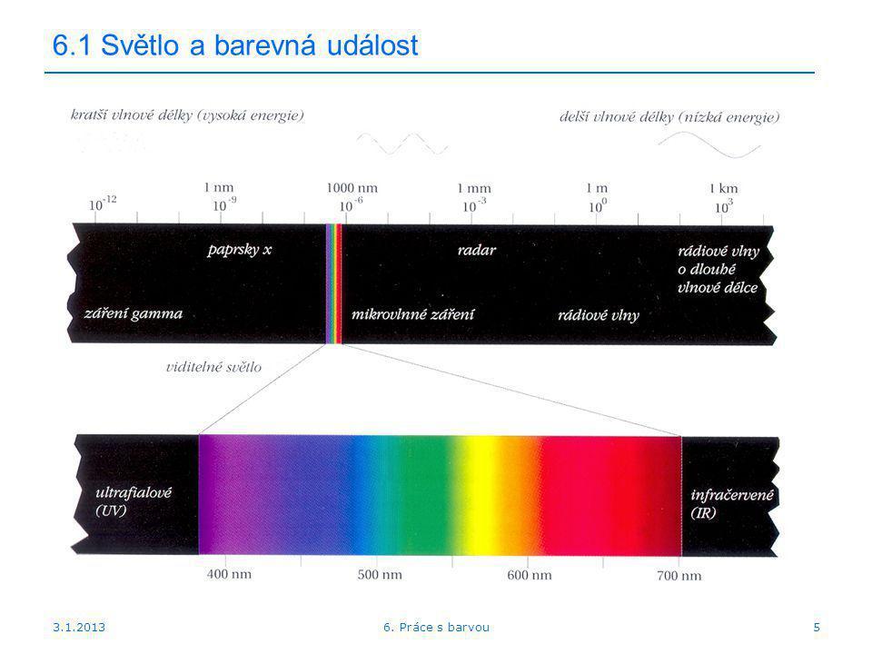 3.1.2013 6.1 Světlo a barevná událost Spektrální charakteristika světla odpovídá spektrální energii Většina světel v reálném životě je tvořena směsicí fotonů o různých vlnových délkách.