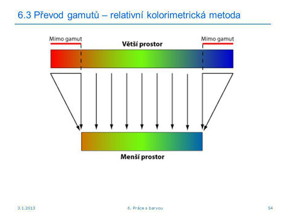3.1.2013 6.3 Převod gamutů – relativní kolorimetrická metoda 546. Práce s barvou