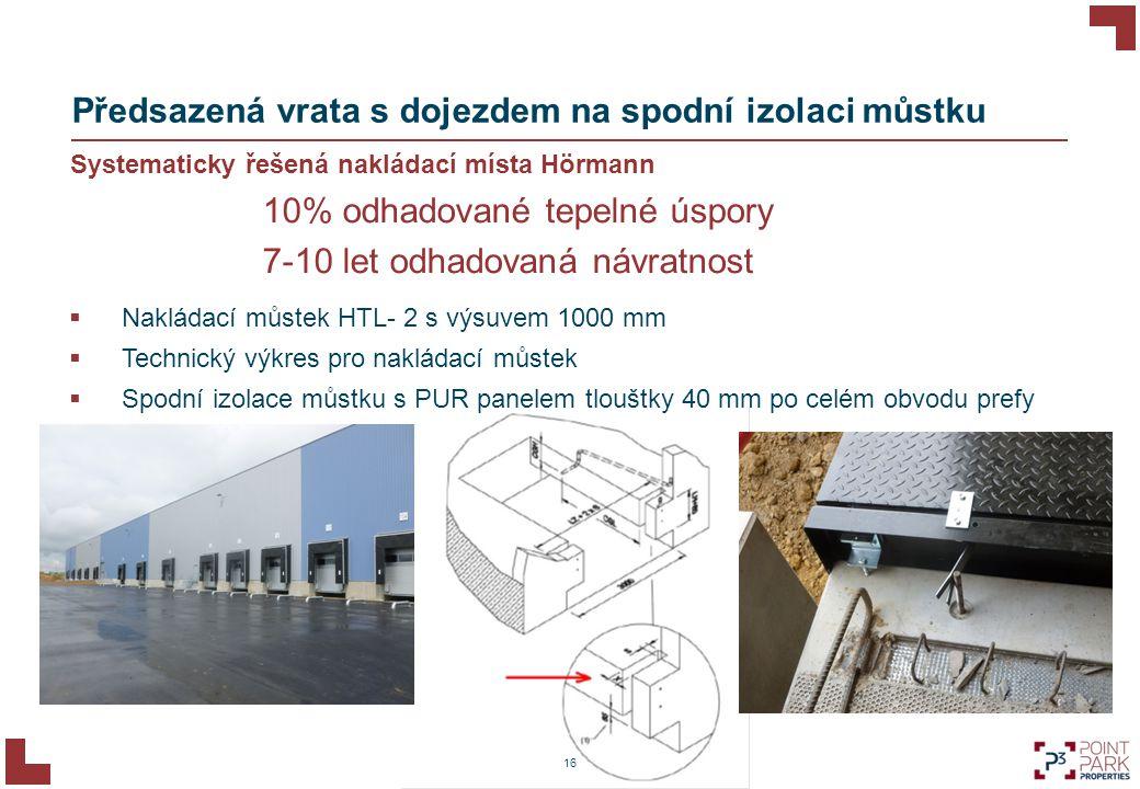 16 Předsazená vrata s dojezdem na spodní izolaci můstku Systematicky řešená nakládací místa Hörmann  Nakládací můstek HTL- 2 s výsuvem 1000 mm  Tech