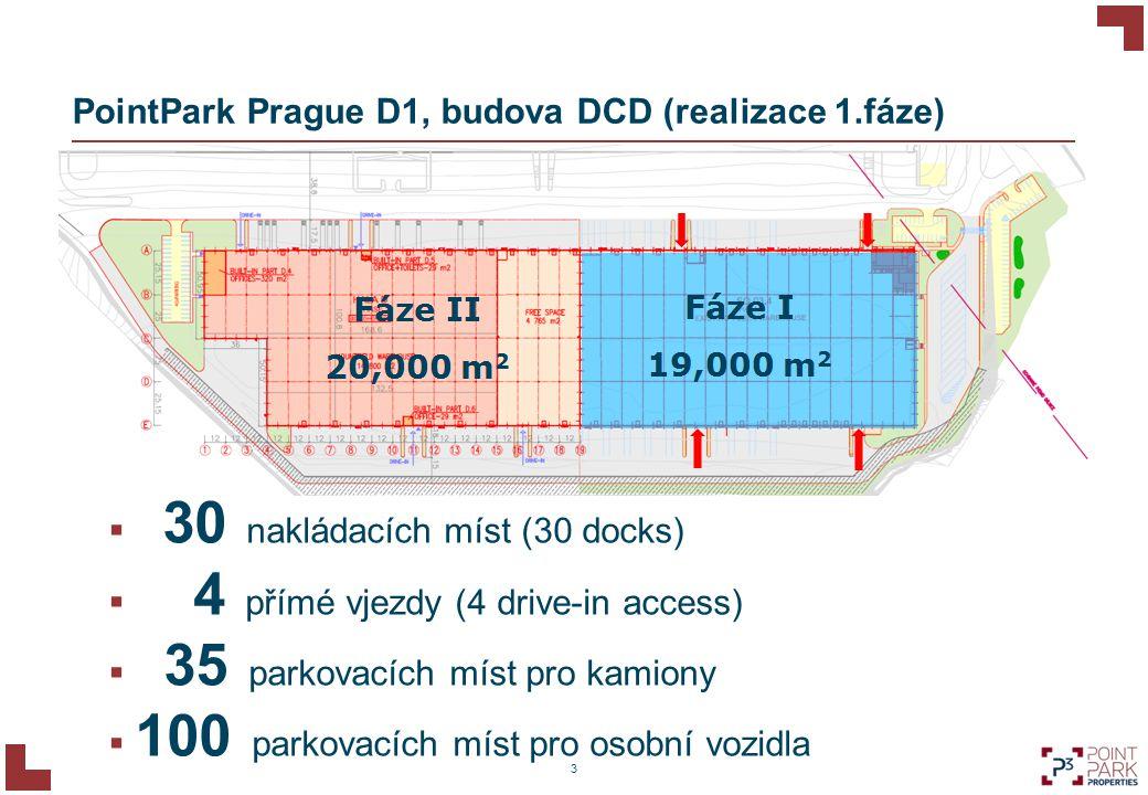 PointPark Prague D1, budova DCD (realizace 1.fáze) 3  30 nakládacích míst (30 docks)  4 přímé vjezdy (4 drive-in access)  35 parkovacích míst pro k