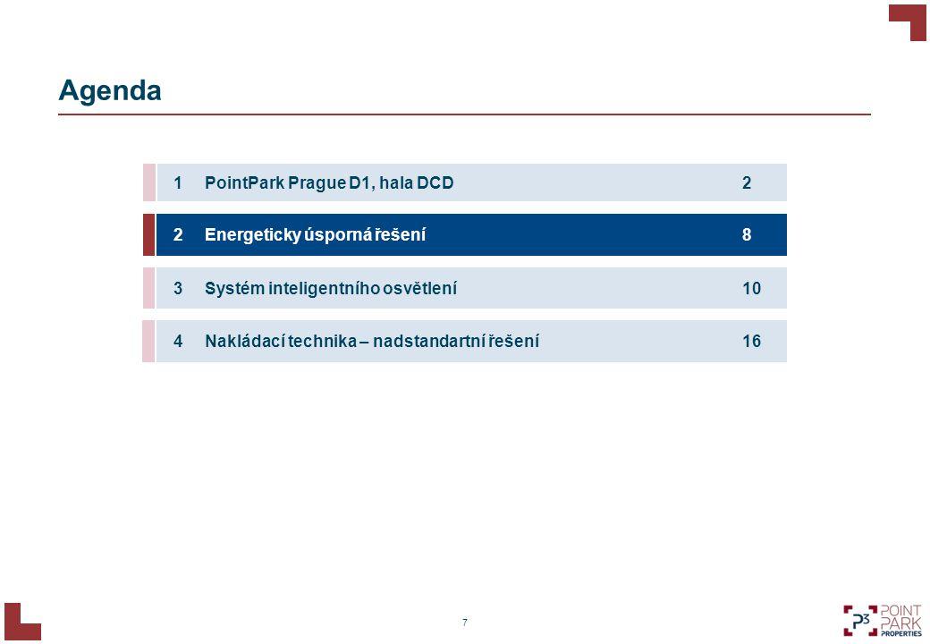 Agenda 7 2PointPark Prague D1, hala DCD1 8Energeticky úsporná řešení2 10Systém inteligentního osvětlení3 16Nakládací technika – nadstandartní řešení4