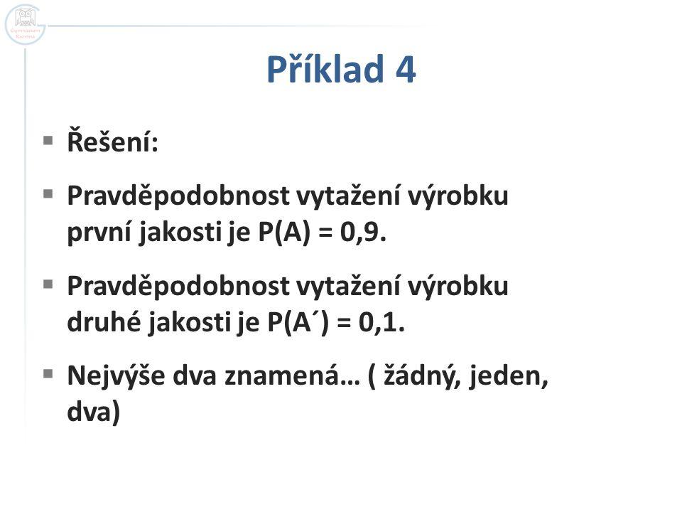 Příklad 4  Řešení:  Pravděpodobnost vytažení výrobku první jakosti je P(A) = 0,9.  Pravděpodobnost vytažení výrobku druhé jakosti je P(A´) = 0,1. 