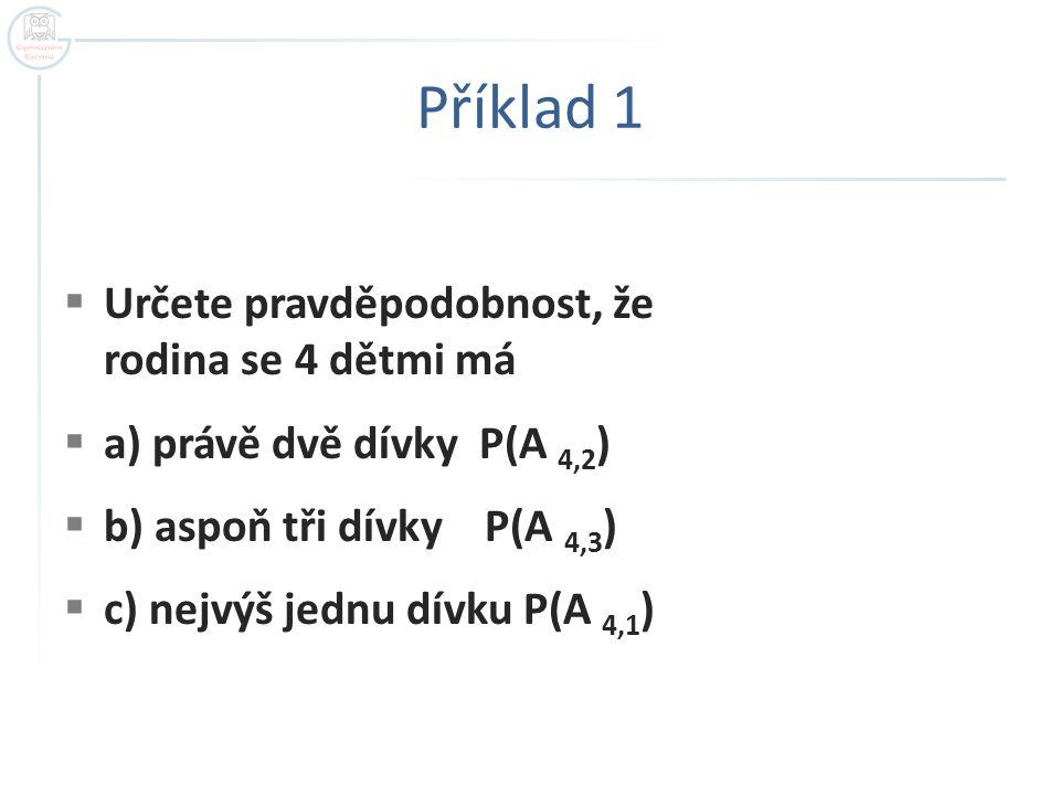 Příklad 1  Určete pravděpodobnost, že rodina se 4 dětmi má  a) právě dvě dívky P(A 4,2 )  b) aspoň tři dívky P(A 4,3 )  c) nejvýš jednu dívku P(A
