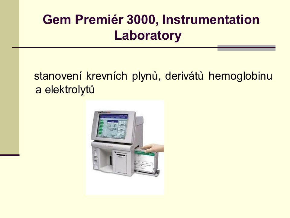Gem Premiér 3000, Instrumentation Laboratory stanovení krevních plynů, derivátů hemoglobinu a elektrolytů