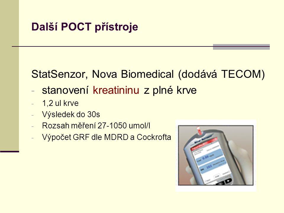 StatSenzor, Nova Biomedical (dodává TECOM) - stanovení kreatininu z plné krve - 1,2 ul krve - Výsledek do 30s - Rozsah měření 27-1050 umol/l - Výpočet GRF dle MDRD a Cockrofta