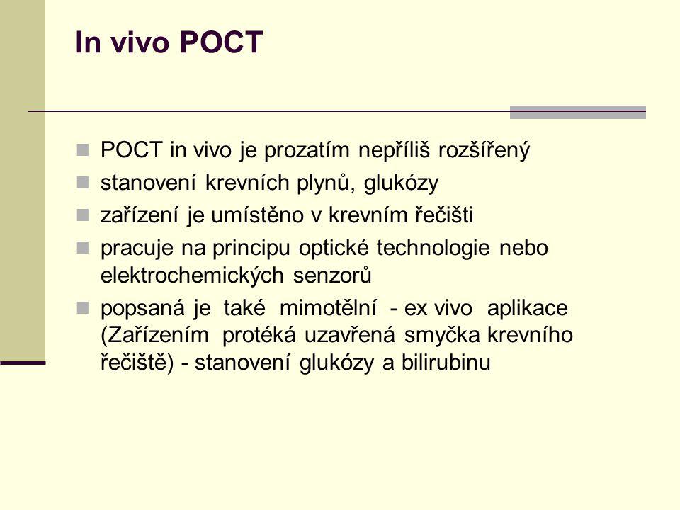 In vivo POCT POCT in vivo je prozatím nepříliš rozšířený stanovení krevních plynů, glukózy zařízení je umístěno v krevním řečišti pracuje na principu optické technologie nebo elektrochemických senzorů popsaná je také mimotělní - ex vivo aplikace (Zařízením protéká uzavřená smyčka krevního řečiště) - stanovení glukózy a bilirubinu