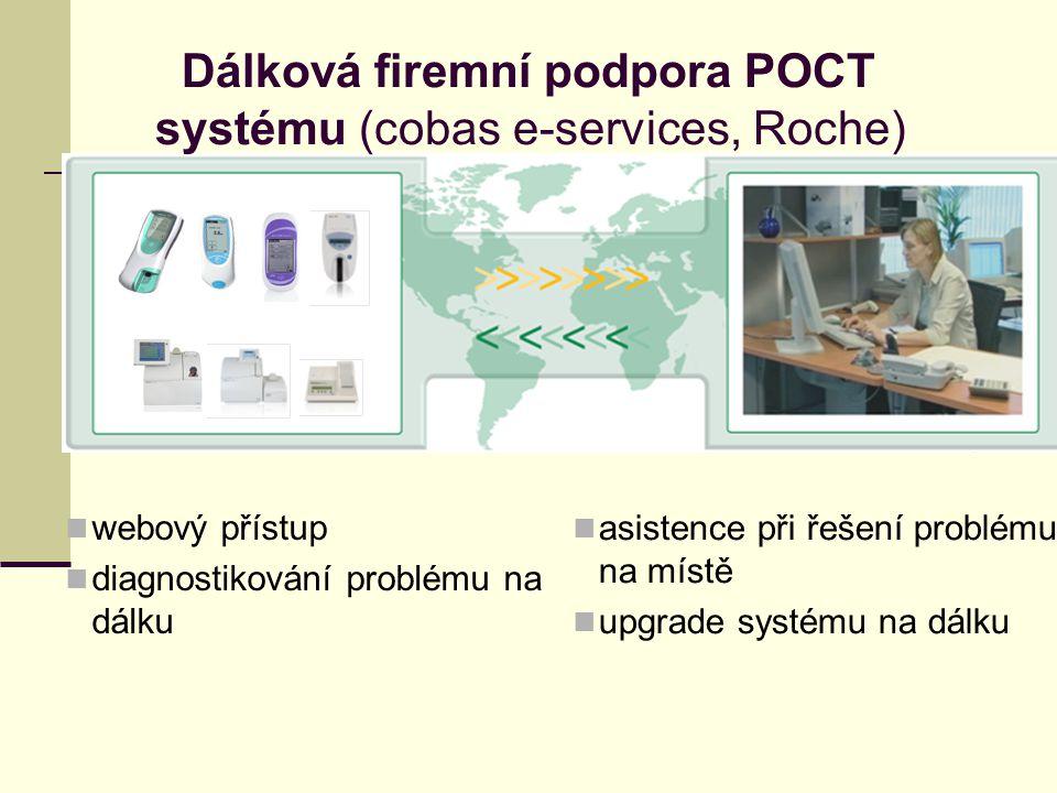 webový přístup diagnostikování problému na dálku asistence při řešení problému na místě upgrade systému na dálku Dálková firemní podpora POCT systému (cobas e-services, Roche)