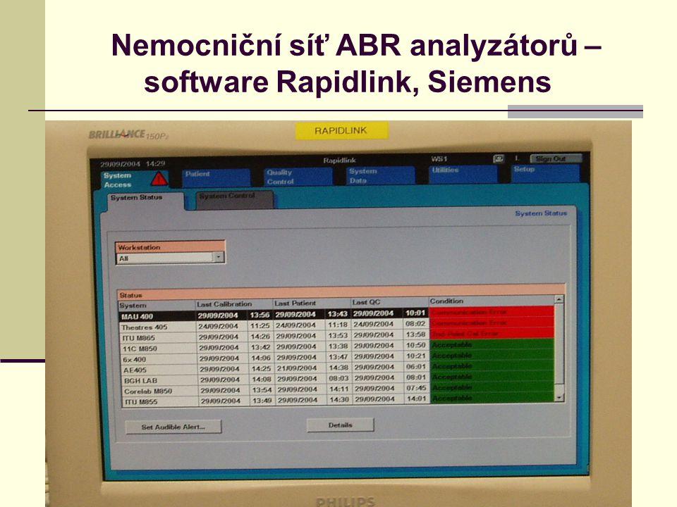 Nemocniční síť ABR analyzátorů – software Rapidlink, Siemens