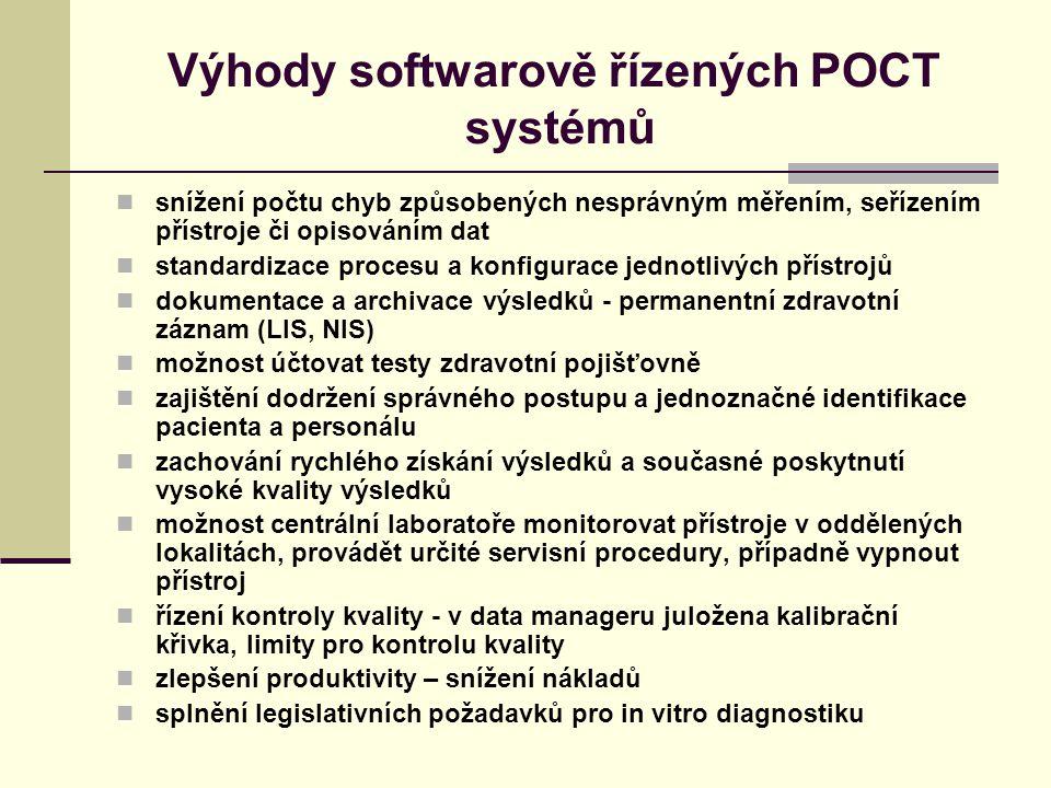 Výhody softwarově řízených POCT systémů snížení počtu chyb způsobených nesprávným měřením, seřízením přístroje či opisováním dat standardizace procesu a konfigurace jednotlivých přístrojů dokumentace a archivace výsledků - permanentní zdravotní záznam (LIS, NIS) možnost účtovat testy zdravotní pojišťovně zajištění dodržení správného postupu a jednoznačné identifikace pacienta a personálu zachování rychlého získání výsledků a současné poskytnutí vysoké kvality výsledků možnost centrální laboratoře monitorovat přístroje v oddělených lokalitách, provádět určité servisní procedury, případně vypnout přístroj řízení kontroly kvality - v data manageru juložena kalibrační křivka, limity pro kontrolu kvality zlepšení produktivity – snížení nákladů splnění legislativních požadavků pro in vitro diagnostiku