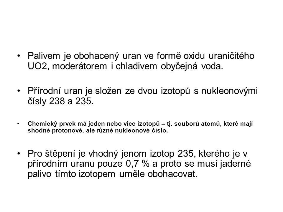 Palivem je obohacený uran ve formě oxidu uraničitého UO2, moderátorem i chladivem obyčejná voda. Přírodní uran je složen ze dvou izotopů s nukleonovým