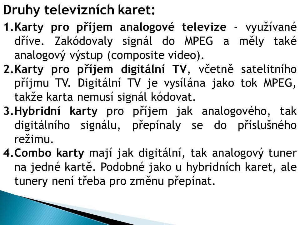 Druhy televizních karet: 1.Karty pro příjem analogové televize - využívané dříve.
