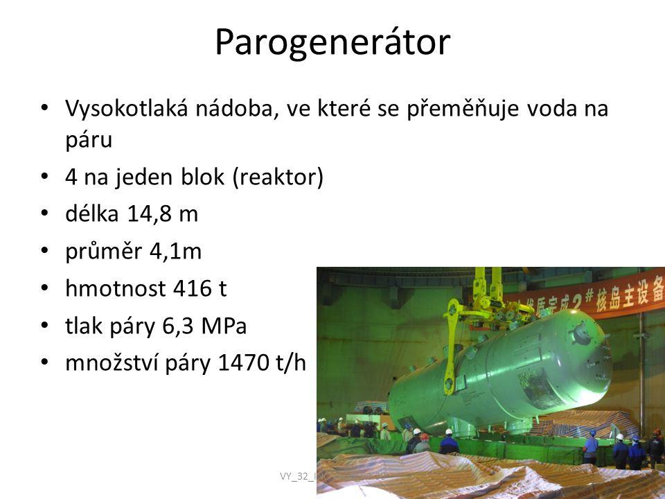 Parogenerátor Vysokotlaká nádoba, ve které se přeměňuje voda na páru 4 na jeden blok (reaktor) délka 14,8 m průměr 4,1m hmotnost 416 t tlak páry 6,3 M