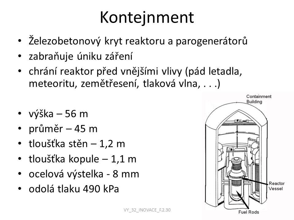 Kontejnment Železobetonový kryt reaktoru a parogenerátorů zabraňuje úniku záření chrání reaktor před vnějšími vlivy (pád letadla, meteoritu, zemětřese