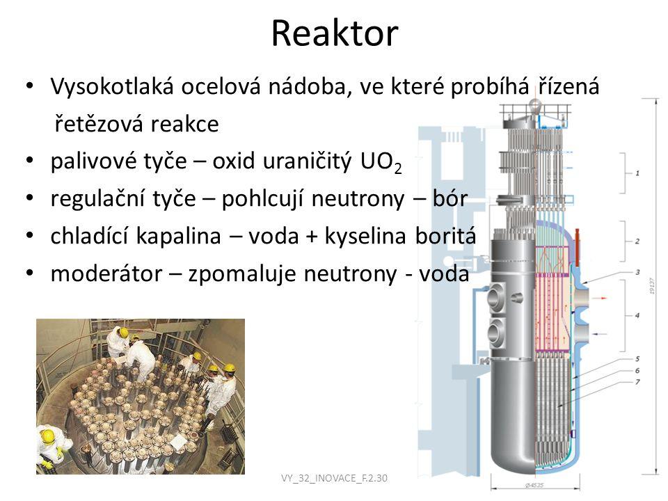 Reaktor v elektrárně Temelín výška - 10,9 m průměr - 4,5 m síla stěny - 200 mm ocelová výstelka - 7 mm hmotnost - 800 t 163 palivových kazet 312 proutků v kazetě 61 regulačních tyčí hmotnost paliva - 92 t obohacení paliva – až 3,8% U235 VY_32_INOVACE_F.2.30