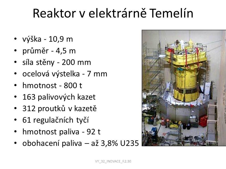 Reaktor v elektrárně Temelín výška - 10,9 m průměr - 4,5 m síla stěny - 200 mm ocelová výstelka - 7 mm hmotnost - 800 t 163 palivových kazet 312 prout