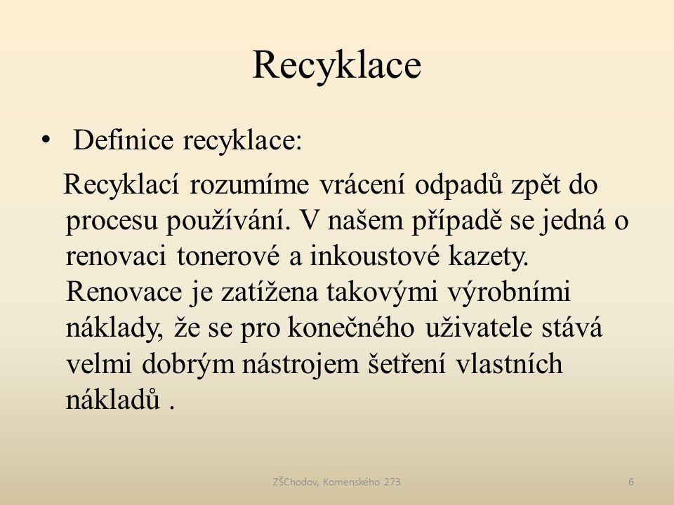 Recyklace Definice recyklace: Recyklací rozumíme vrácení odpadů zpět do procesu používání. V našem případě se jedná o renovaci tonerové a inkoustové k