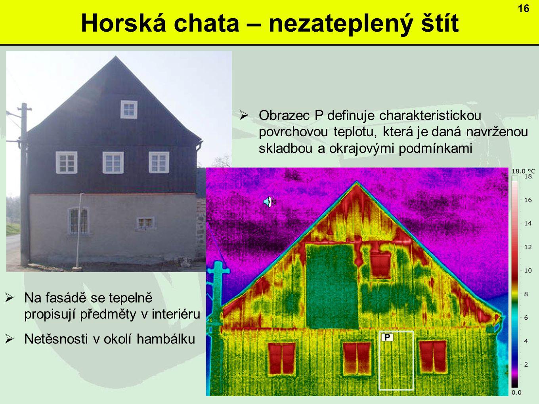 Horská chata – nezateplený štít  Obrazec P definuje charakteristickou povrchovou teplotu, která je daná navrženou skladbou a okrajovými podmínkami 16  Na fasádě se tepelně propisují předměty v interiéru  Netěsnosti v okolí hambálku