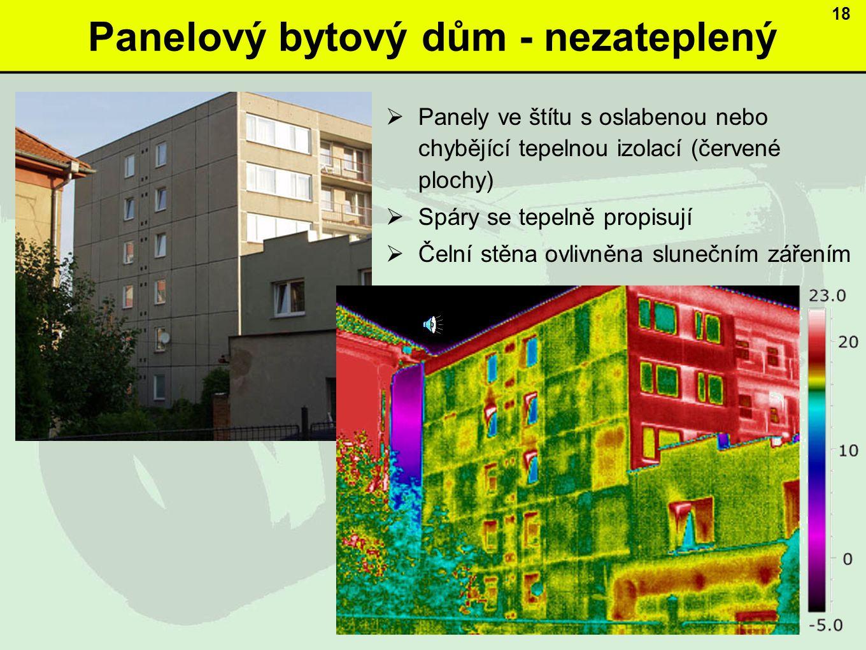 Panelový bytový dům - nezateplený  Panely ve štítu s oslabenou nebo chybějící tepelnou izolací (červené plochy)  Spáry se tepelně propisují  Čelní stěna ovlivněna slunečním zářením 18