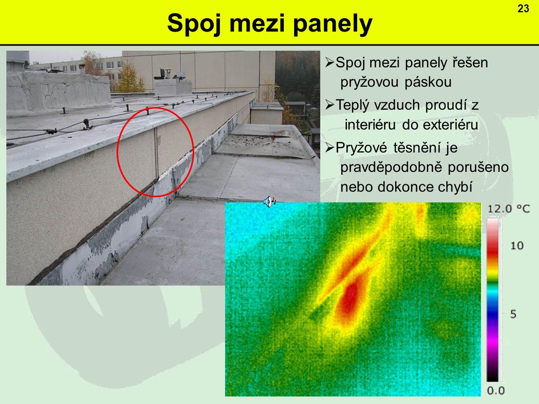 Spoj mezi panely 23  Spoj mezi panely řešen pryžovou páskou  Teplý vzduch proudí z interiéru do exteriéru  Pryžové těsnění je pravděpodobně porušeno nebo dokonce chybí