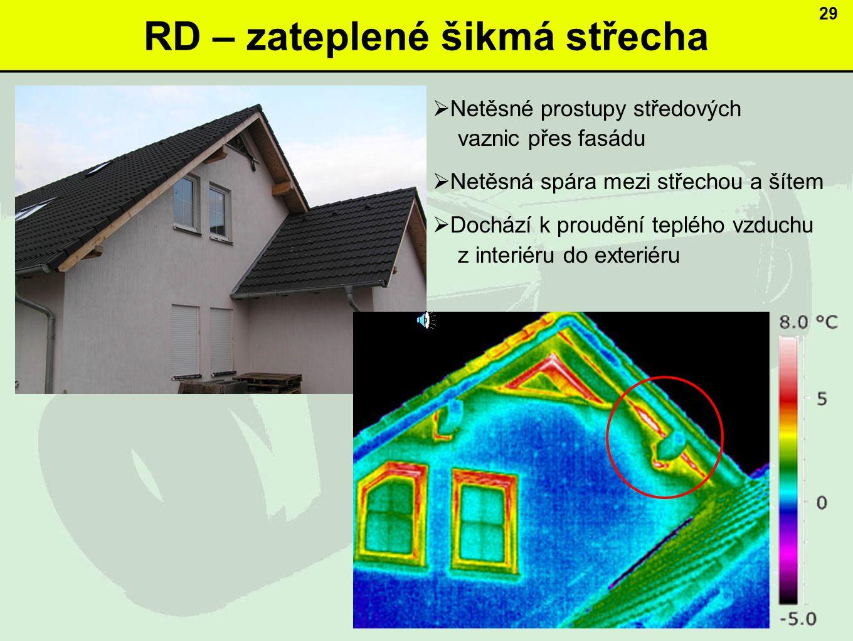 RD – zateplené šikmá střecha 29  Netěsné prostupy středových vaznic přes fasádu  Netěsná spára mezi střechou a šítem  Dochází k proudění teplého vzduchu z interiéru do exteriéru