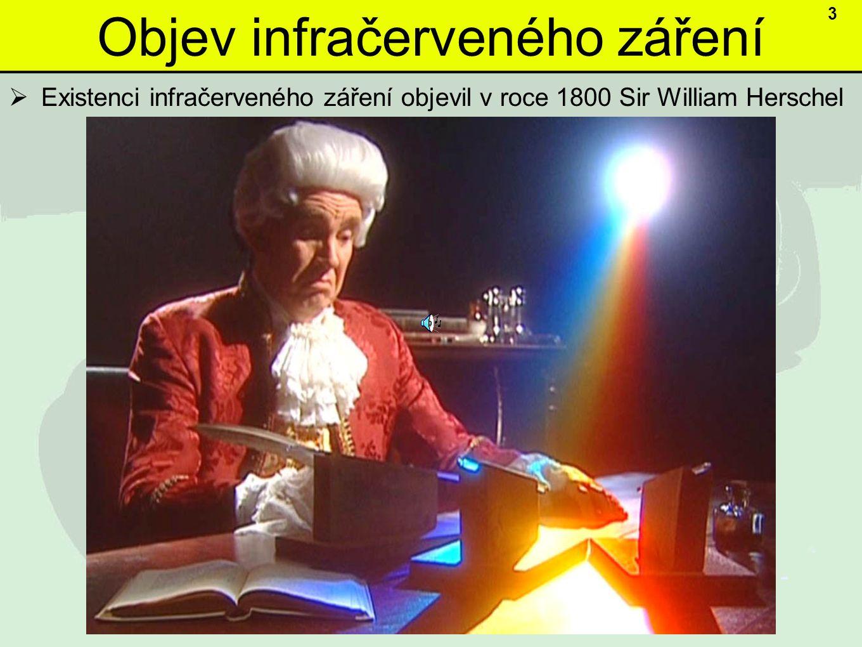 Objev infračerveného záření  Existenci infračerveného záření objevil v roce 1800 Sir William Herschel 3