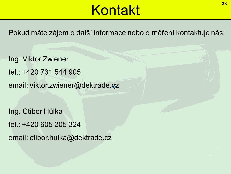 Kontakt 33 Pokud máte zájem o další informace nebo o měření kontaktuje nás: Ing.