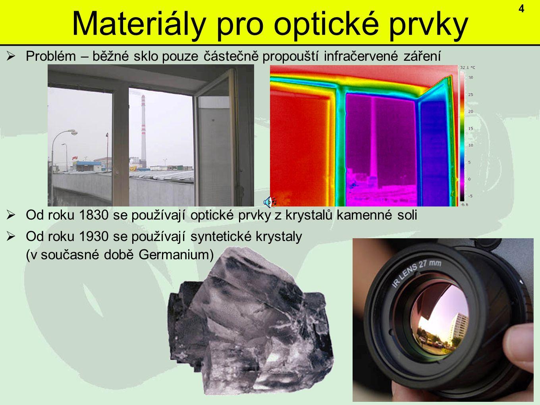 Materiály pro optické prvky  Problém – běžné sklo pouze částečně propouští infračervené záření  Od roku 1830 se používají optické prvky z krystalů kamenné soli  Od roku 1930 se používají syntetické krystaly (v současné době Germanium) 4