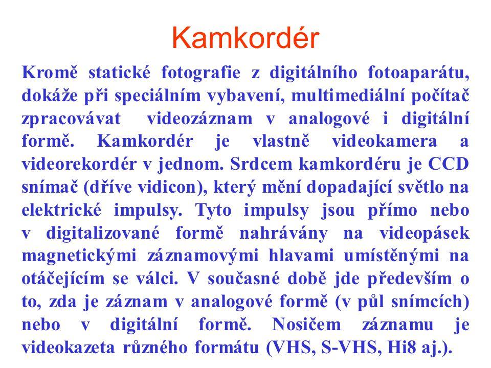 Kamkordér Kromě statické fotografie z digitálního fotoaparátu, dokáže při speciálním vybavení, multimediální počítač zpracovávat videozáznam v analogo