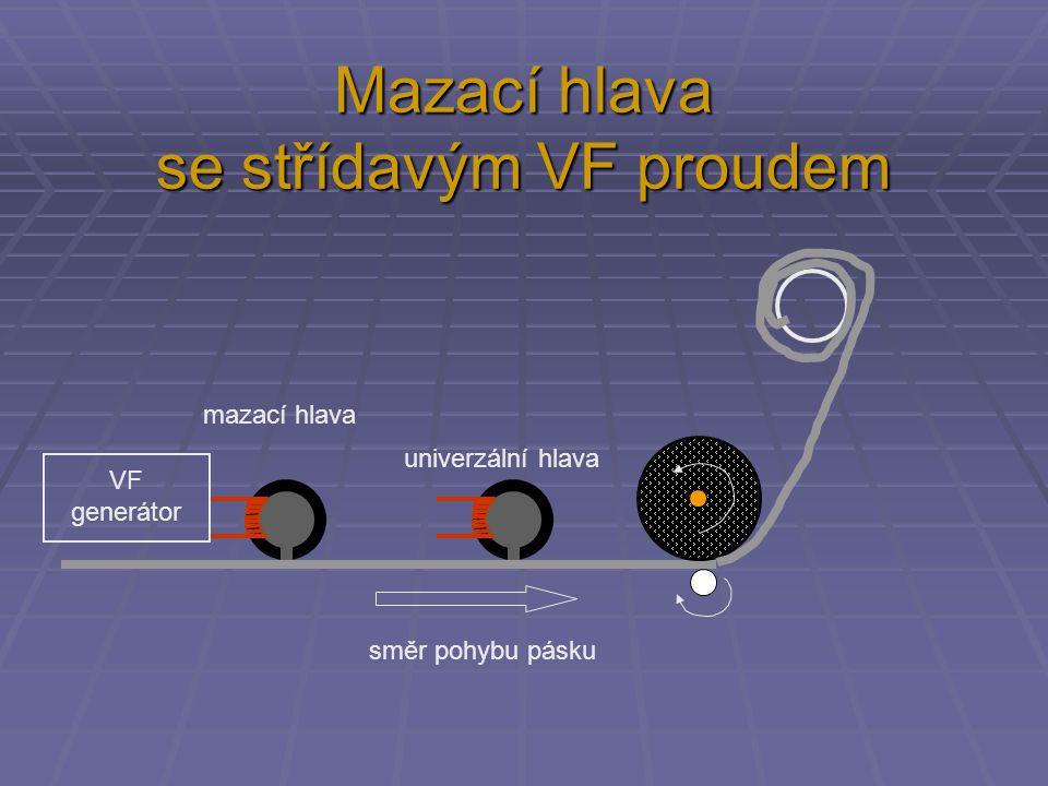 Mazací hlava se střídavým VF proudem směr pohybu pásku mazací hlava univerzální hlava VF generátor