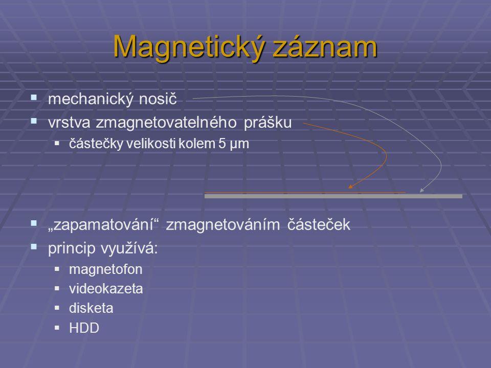 """Magnetický záznam  mechanický nosič  vrstva zmagnetovatelného prášku  částečky velikosti kolem 5 µm  """"zapamatování"""" zmagnetováním částeček  princ"""